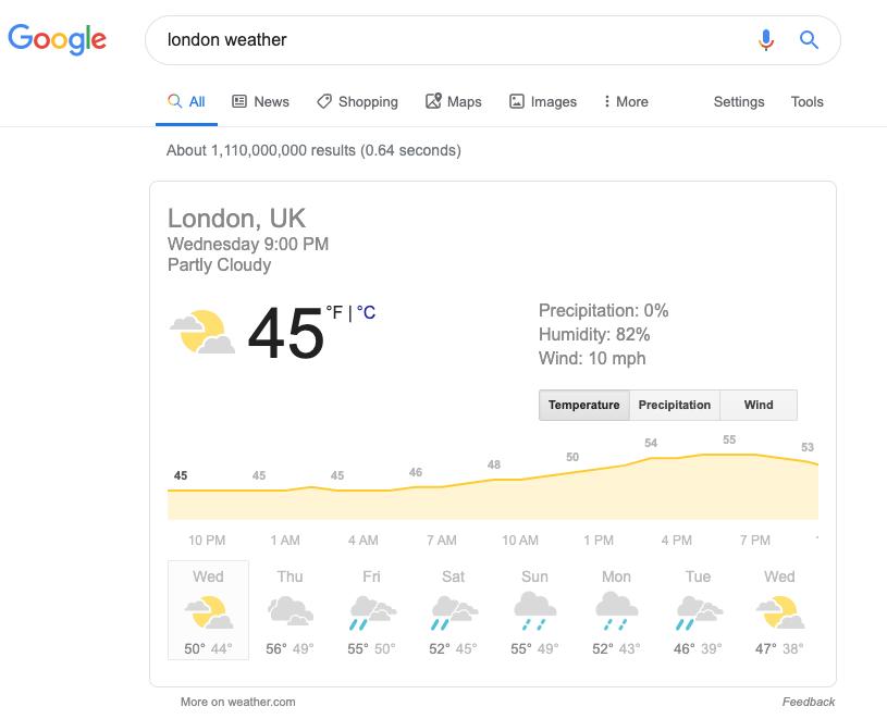 Captura de pantalla de un resultado de búsqueda para el clima de Londres
