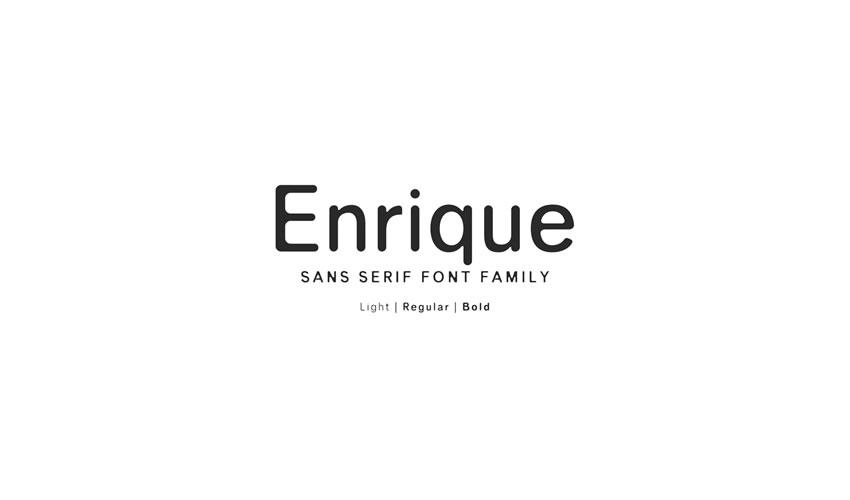 Enrique Sans-Serif Font pulsuz minimalist şrift dizaynı tipaj mətbəəsi