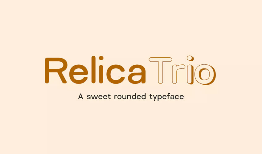 Relica Trio şirin yuvarlaqlaşdırılmış Sans-Serif minimal tipli pulsuz