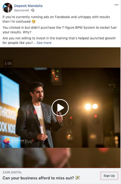 Reorientación de anuncios de Facebook
