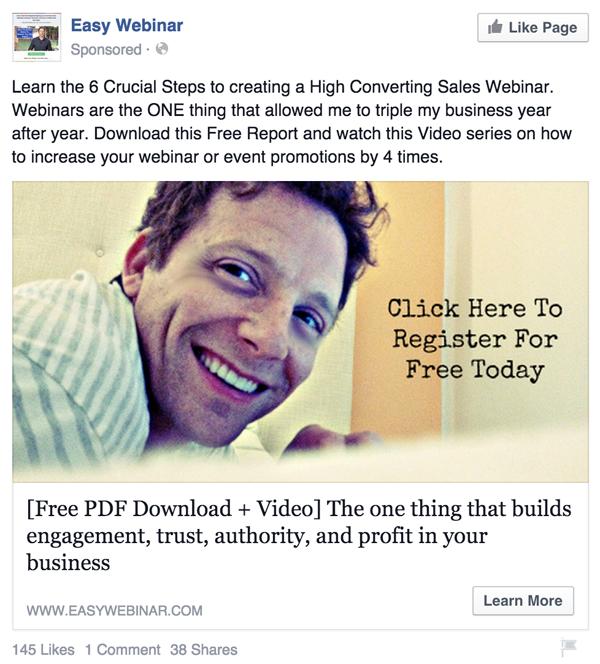 haciendo crecer su lista de correo electrónico - anuncio de Facebook
