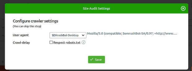 cambiar usuario-agente en semrush