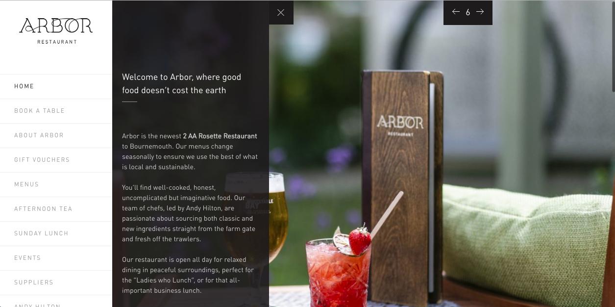 Diseño del sitio web del restaurante Arbor