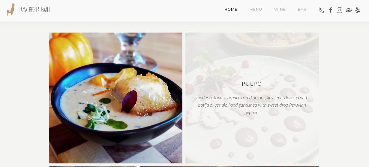 diseño del sitio web del restaurante llama