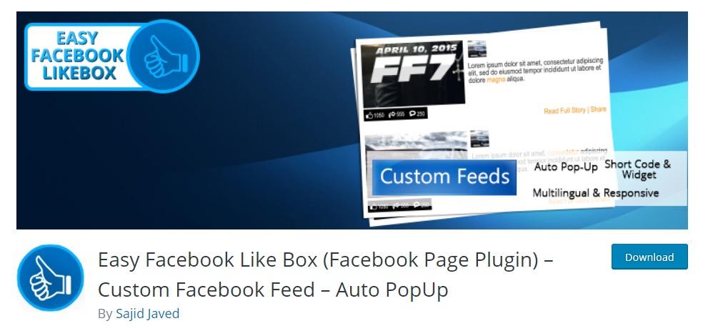 """easy-facebook-likebox-wordpress-facebook-plugins """"width ="""" 991 """"height ="""" 470 """"srcset ="""" https://themegrill.com/blog/wp-content/uploads/2018/01/easy-facebook-likebox -wordpress-facebook-plugins.jpg 991w, https://themegrill.com/blog/wp-content/uploads/2018/01/easy-facebook-likebox-wordpress-facebook-plugins-300x142.jpg 300w, https: / /themegrill.com/blog/wp-content/uploads/2018/01/easy-facebook-likebox-wordpress-facebook-plugins-768x364.jpg 768w """"tamaños ="""" (ancho máximo: 991px) 100vw, 991px """"></h3> <p>Otra forma fácil y eficiente de integrar Facebook en su WordPress es a través de<strong> Fácil Facebook Me gusta la caja.</strong> Además de sus tres características principales: <strong>Personalizado Facebook Alimentar, Facebook Complemento de página y ventana emergente automática</strong>, también hay otras características importantes de este complemento que lo hacen súper práctico y útil.</p><div class='code-block code-block-4' style='margin: 8px auto; text-align: center; display: block; clear: both;'> <div data-ad="""
