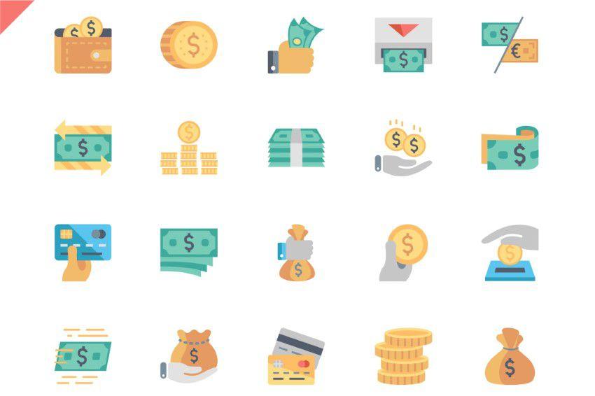 Icônes plates d'argent