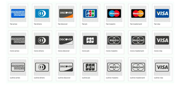 Icônes de carte de crédit fournisseur SVG