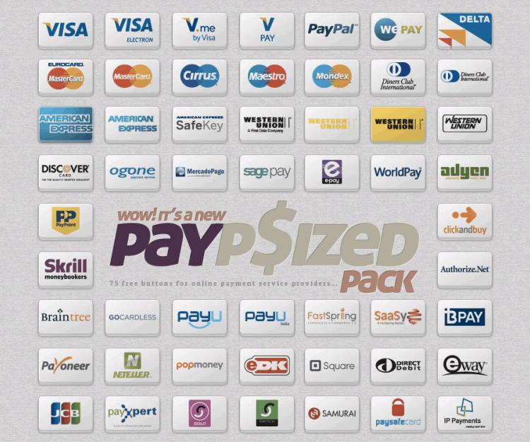 Boutons de fournisseur de services de paiement en ligne PSD PNG