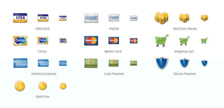 Ensemble de png d'icône de paiement e-commerce gratuit