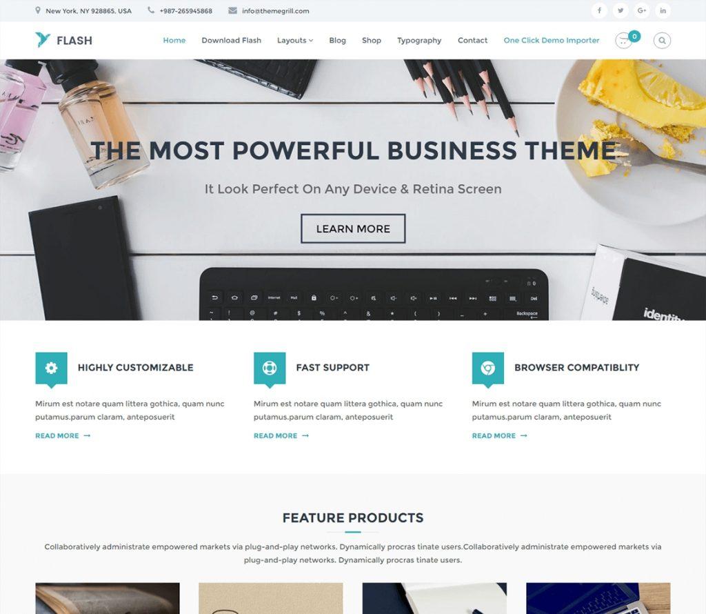 Flash: tema gratuito de WordPress multipropósito
