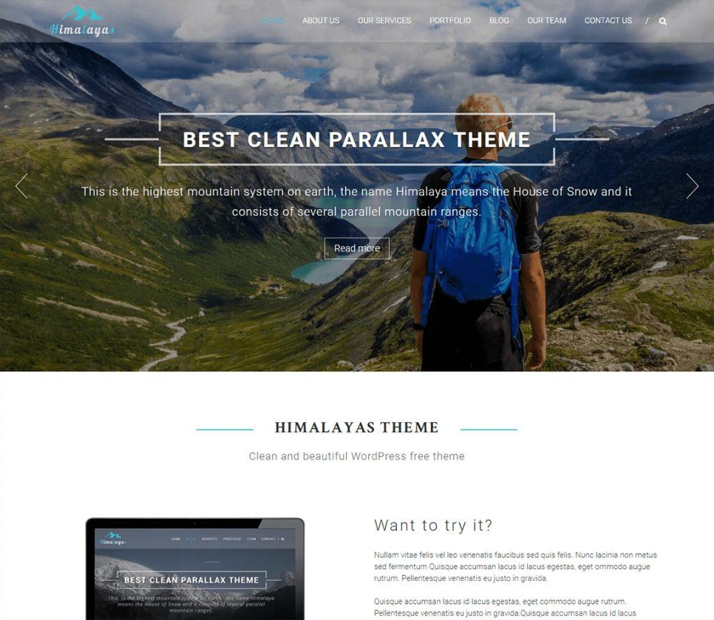El mejor tema de negocios de wordpress gratis de Himalaya con diseño de paralaje de una página