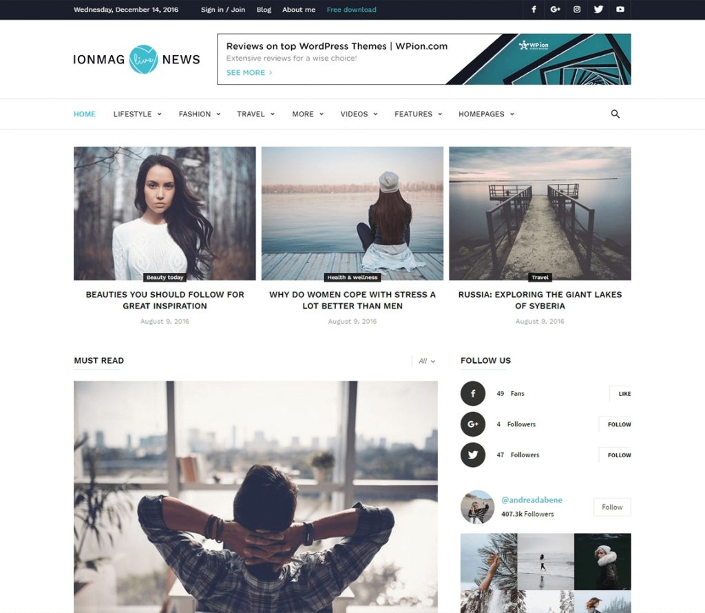 IonMag I Tema premium gratuito de la revista WordPress