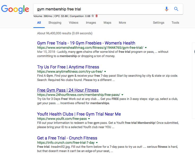 Palabras clave de búsqueda de Google