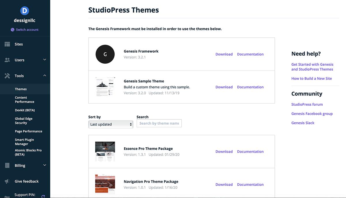 Panel de temas de WP Engine Install Studio Press
