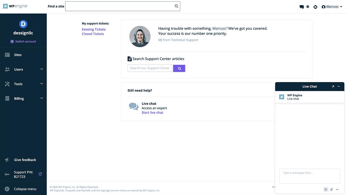 Panel de chat de chat en vivo fácil de WP Engine 2020