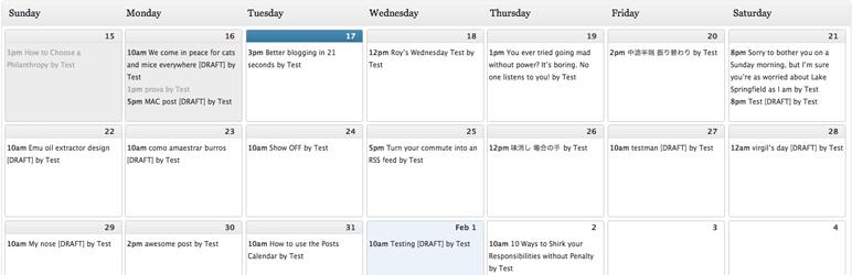 Complemento de WordPress de calendario editorial
