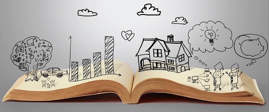 Libro abierto ilustración personas nubes storytelling