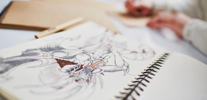 cuaderno de dibujo de diseñador