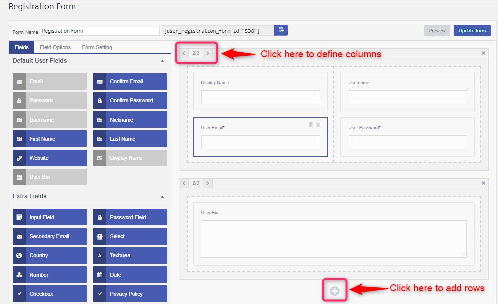 agregar filas y columnas en el registro de usuarios