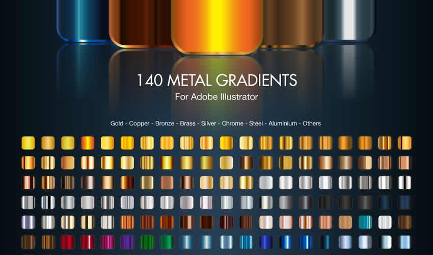 Metal gradients adobe illüstrator fırçaları abr paketi pulsuzdur