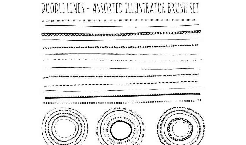 Natural Sketch Doodle Lines adobe illüstrator fırçaları, abr paketi pulsuz
