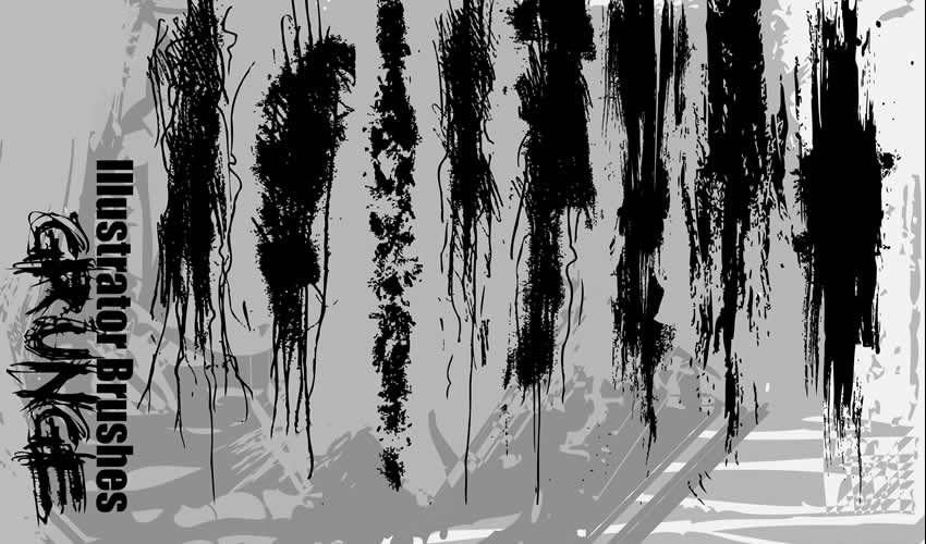 Grunge adobe illüstrator fırçaları pulsuz fırçalar paketi abr