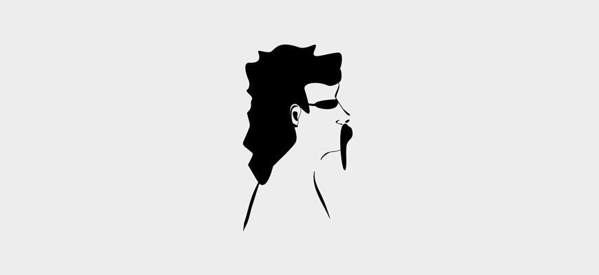 Illustration of man with mullet