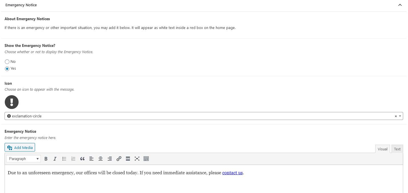 Trường thông báo khẩn cấp trong WordPress Content Editor.