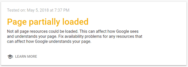 carga de la página por Google