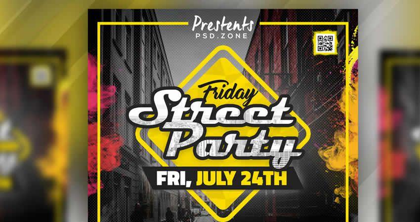 Plantilla de volante PSD de Street Party Photoshop