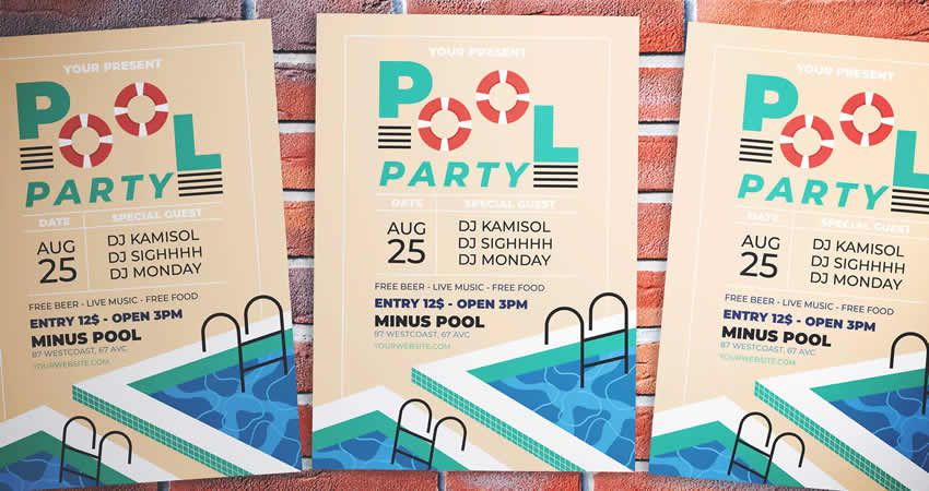 Plantilla de volante de fiesta en la piscina PSD PSD AI