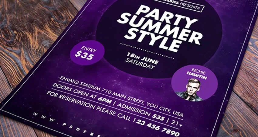 Plantilla de volante PSD de Photoshop de Summer Party