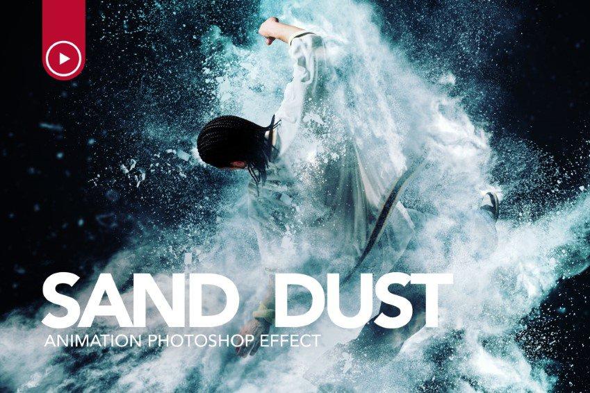 Vụ nổ bụi cát hành động Photoshop