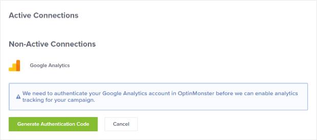 generar código de autenticación de Google Analytics