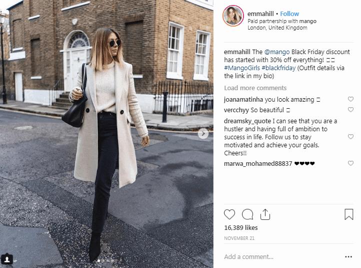 Influenciadores de la moda de Emma Hill Instagram