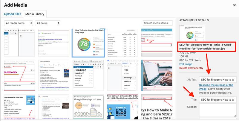 SEO para bloggers Ejemplo de texto alternativo de imagen y etiquetas de título