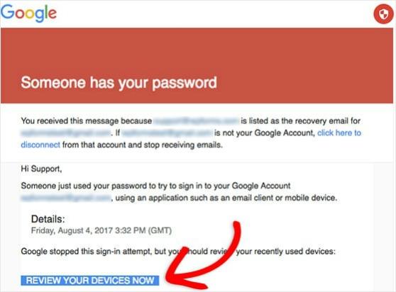 Google smtp se bloquea cuando el formulario de contacto de WordPress no envía correo electrónico