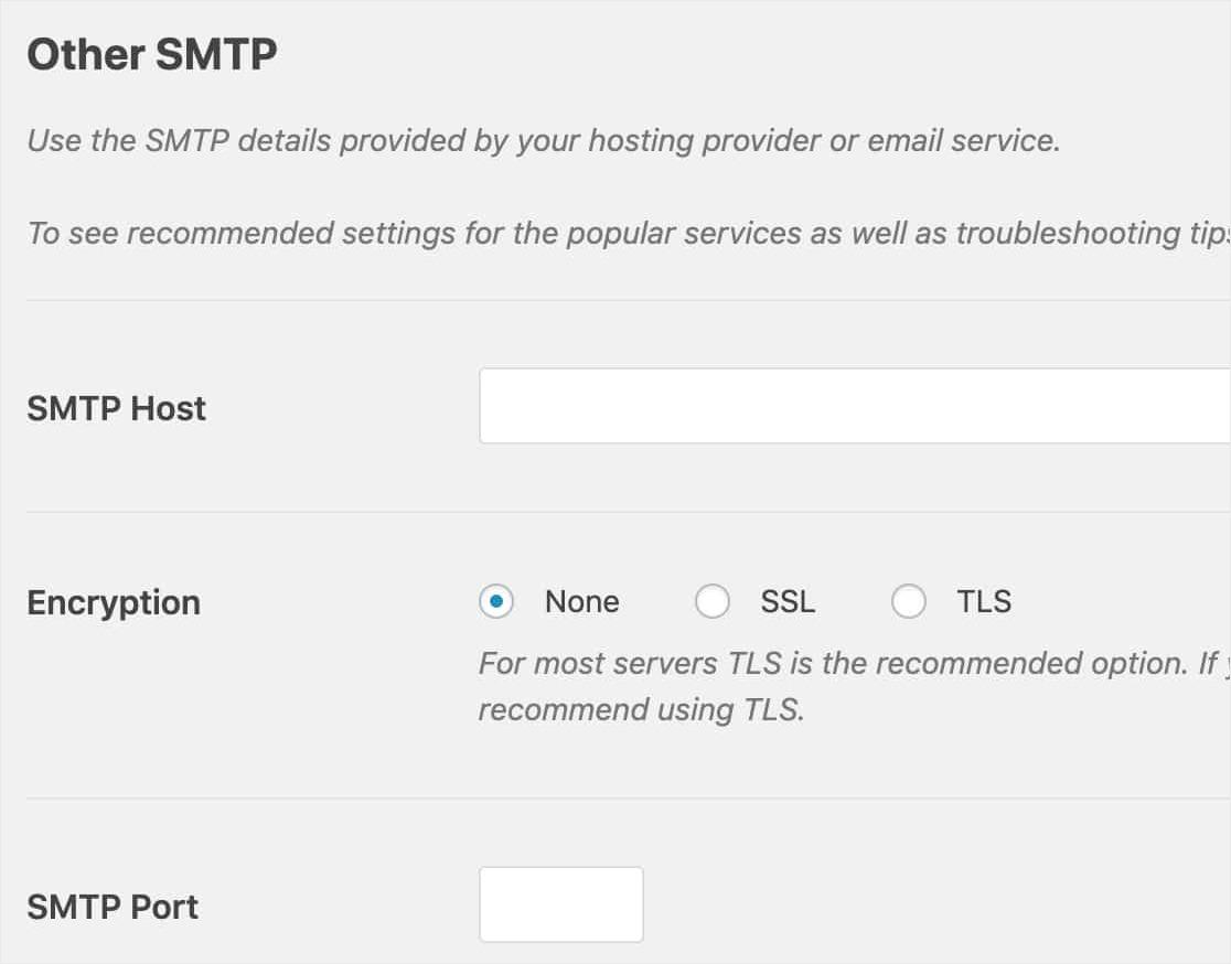 Configure otras configuraciones de SMTP