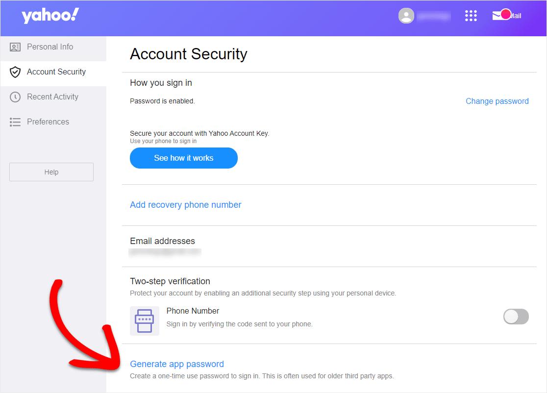 pantalla de seguridad de la cuenta de Yahoo para si el formulario de contacto de WordPress no envía correo electrónico