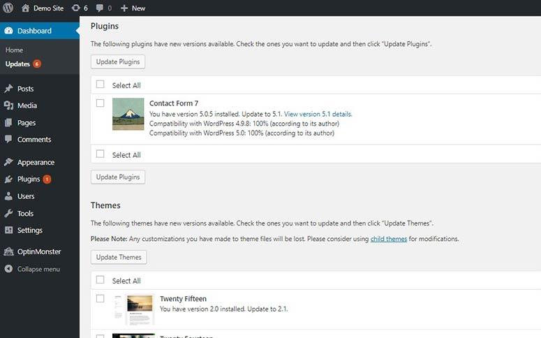 Página de actualizaciones en el panel de WordPress