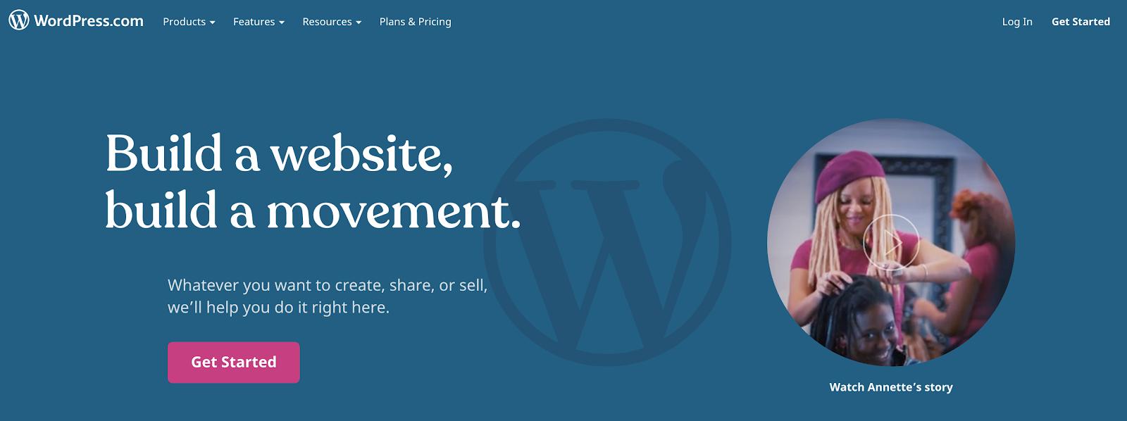 Diferencia entre WordPress.org y WordPress.com Captura de pantalla de la página de inicio