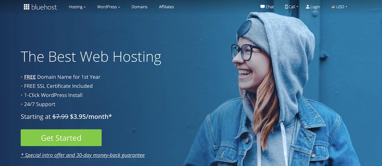 Blog alojado en WordPress Página de inicio de Bluehost