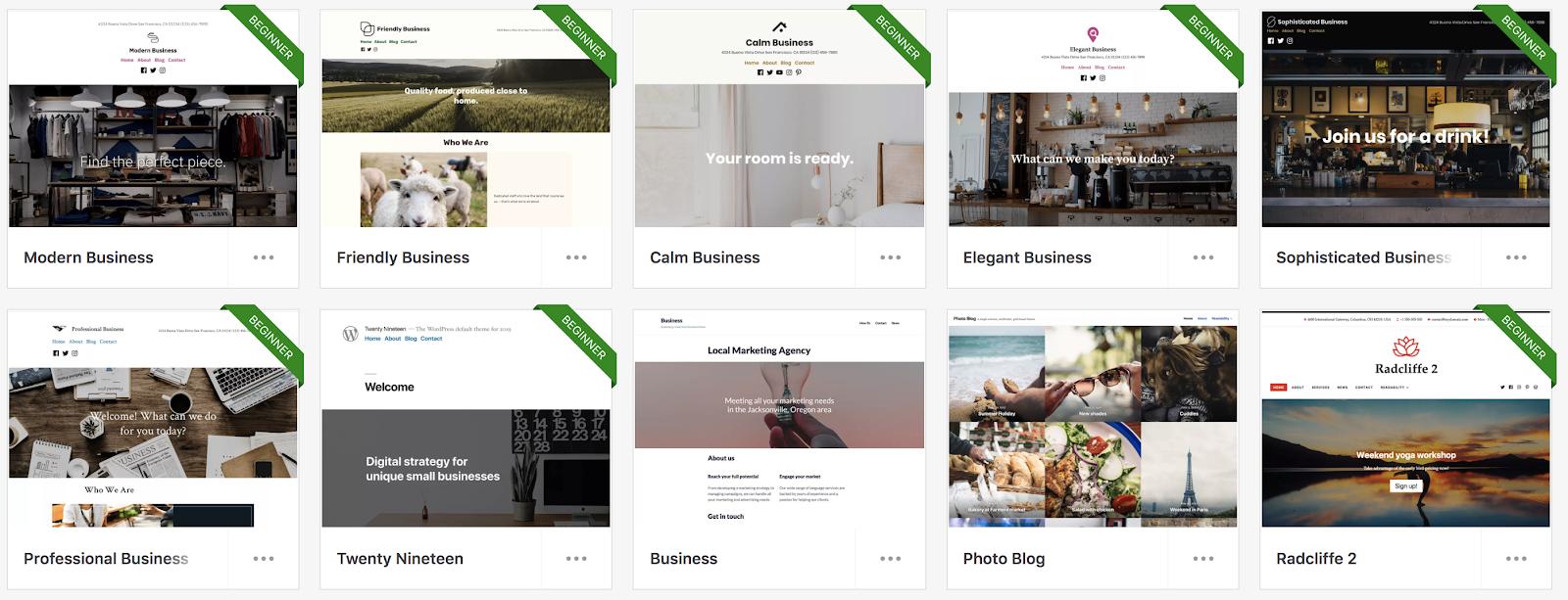 Biblioteca de temas de WordPress y ejemplos