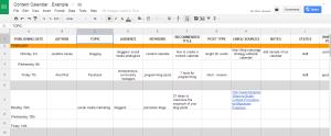 Cree un calendario de contenido, use esta hoja de cálculo como ejemplo.