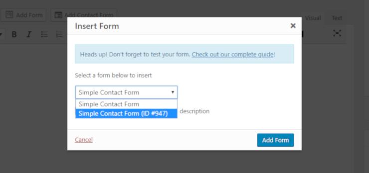 formulario de inserción de wpforms en el sitio