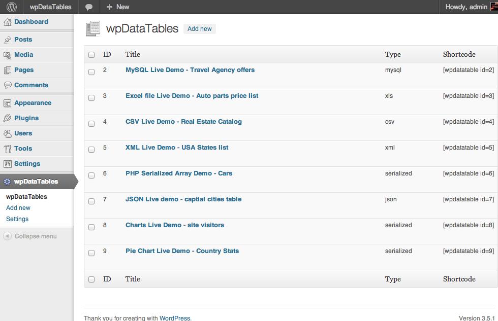 """wpDataTables_creating_tables_charts """"width ="""" 980 """"height ="""" 633 """"srcset ="""" https://blogging-techies.com/wp-content/uploads/2020/04/1587854894_489_Como-agregar-tablas-en-WordPress.png 980w, https://themegrill.com/blog/ wp-content / uploads / 2017/08 / wpDataTables_creating_tables_charts-300x194.png 300w, https://themegrill.com/blog/wp-content/uploads/2017/08/wpDataTables_creating_tables_charts-768x496.png 768w """"tamaños ="""" (max- ancho: 980px) 100vw, 980px """"></p> <p>Aunque el complemento es muy extenso y potente, proporciona una interfaz de usuario realmente simple y amigable para principiantes. Simplemente puede agregar el contenido de su tabla / gráfico en una hoja de cálculo con una interfaz similar a Excel. Una vez creadas y publicadas, las tablas se pueden editar en cualquier momento posterior en caso de que sea necesario.</p> <p>Además, puede tener características sorprendentes como filtros avanzados y búsqueda, resaltado, tabla a gráficos, compatibilidad con archivos Excel y CSV, etc. para que pueda crear impresionantes tablas y gráficos completos.</p><div class='code-block code-block-8' style='margin: 8px auto; text-align: center; display: block; clear: both;'> <div data-ad="""
