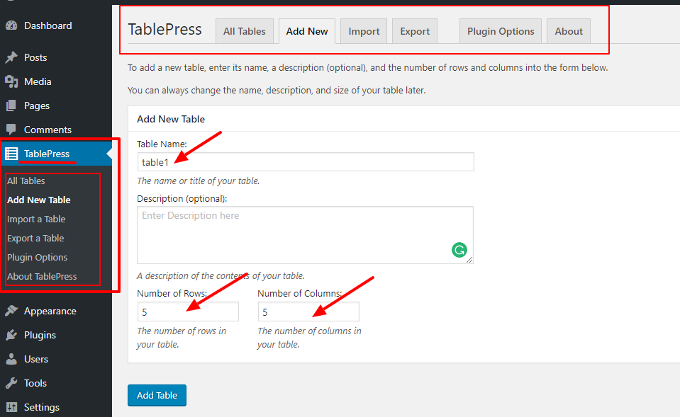 """add-new-table-with-tablepress-wp-plugin """"ancho ="""" 959 """"height ="""" 589 """"srcset ="""" https://themegrill.com/blog/wp-content/uploads/2017/08/add-new -table-with-tablepress-wp-plugin.png 959w, https://themegrill.com/blog/wp-content/uploads/2017/08/add-new-table-with-tablepress-wp-plugin-300x184. png 300w, https://themegrill.com/blog/wp-content/uploads/2017/08/add-new-table-with-tablepress-wp-plugin-768x472.png 768w """"tamaños ="""" (ancho máximo: 959px) 100vw, 959px """"></p> <p>Ahora, proporcione un nombre de tabla, una descripción de la tabla y el número de filas y columnas que desea en la tabla. Luego haga clic en """"Agregar tabla"""" que lo llevará a la página de edición de tablas como se muestra a continuación.</p> <p><img class="""