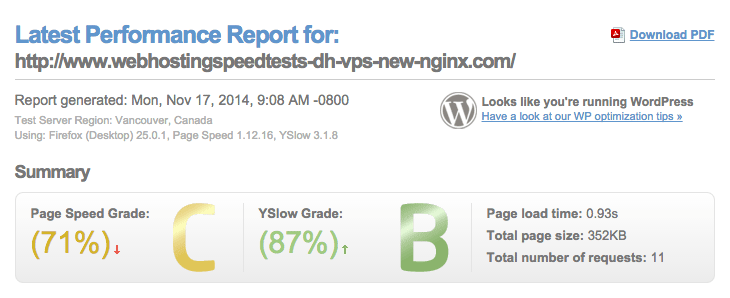 Datos de prueba de GTMetrix para WordPress en el nuevo VPS DreamHost con Nginx