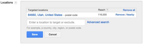 Ubicaciones de orientación en Google Adwords: publicidad disruptiva