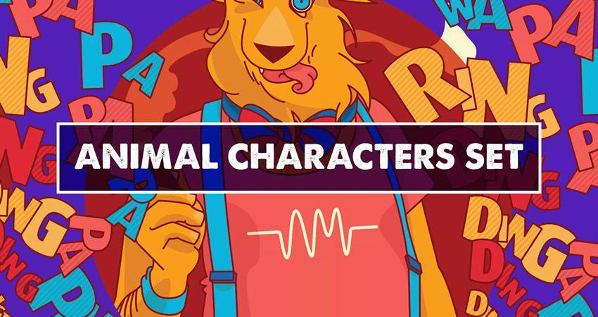 Conjunto de personajes de animales